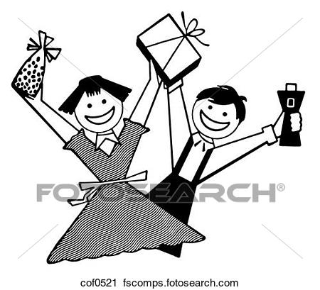 450x409 Clipart Of A Black And White Version Of Two Children Overjoyed