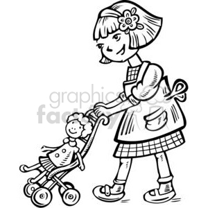 300x300 Royalty Free Girl Pushing Her Doll In A Stroller 381590 Vector