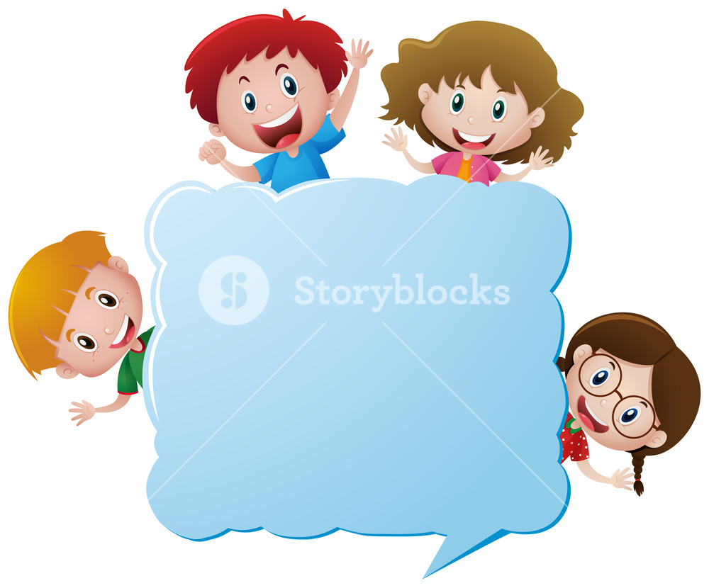 1000x830 Border Template With Four Children And Snowman Illustration