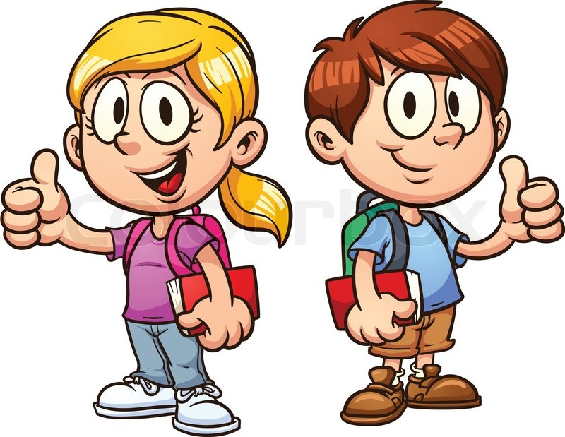 800x619 School Kids. Vector Clip Art Illustration With Simple Gradients