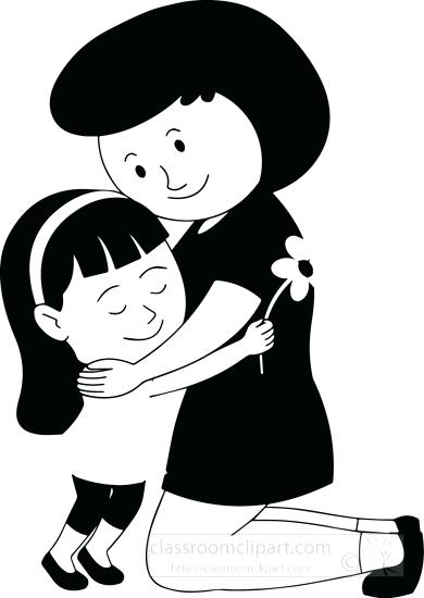 390x550 Children Clipart Black White Happy Mothers Day Daughter Giving
