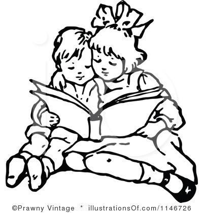 400x420 Children Reading Clip Art Black And White