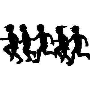300x300 Children Running Clipart Black And White