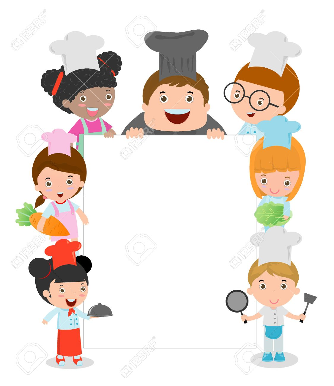 1124x1300 Kids Holding Cooking Surrounding A Blank Board, Kids Chef Peeping