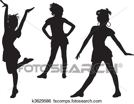 450x351 Clip Art Of Joy Silhouette Children K3629586