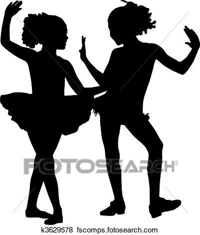 401x470 Clip Art Of Silhouette Dancer Children K3629578