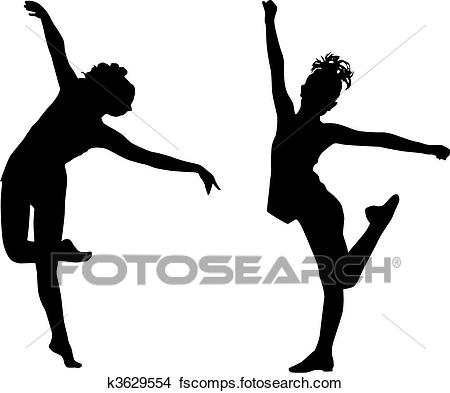 450x393 Clipart Of Silhouette Dance Children K3629554
