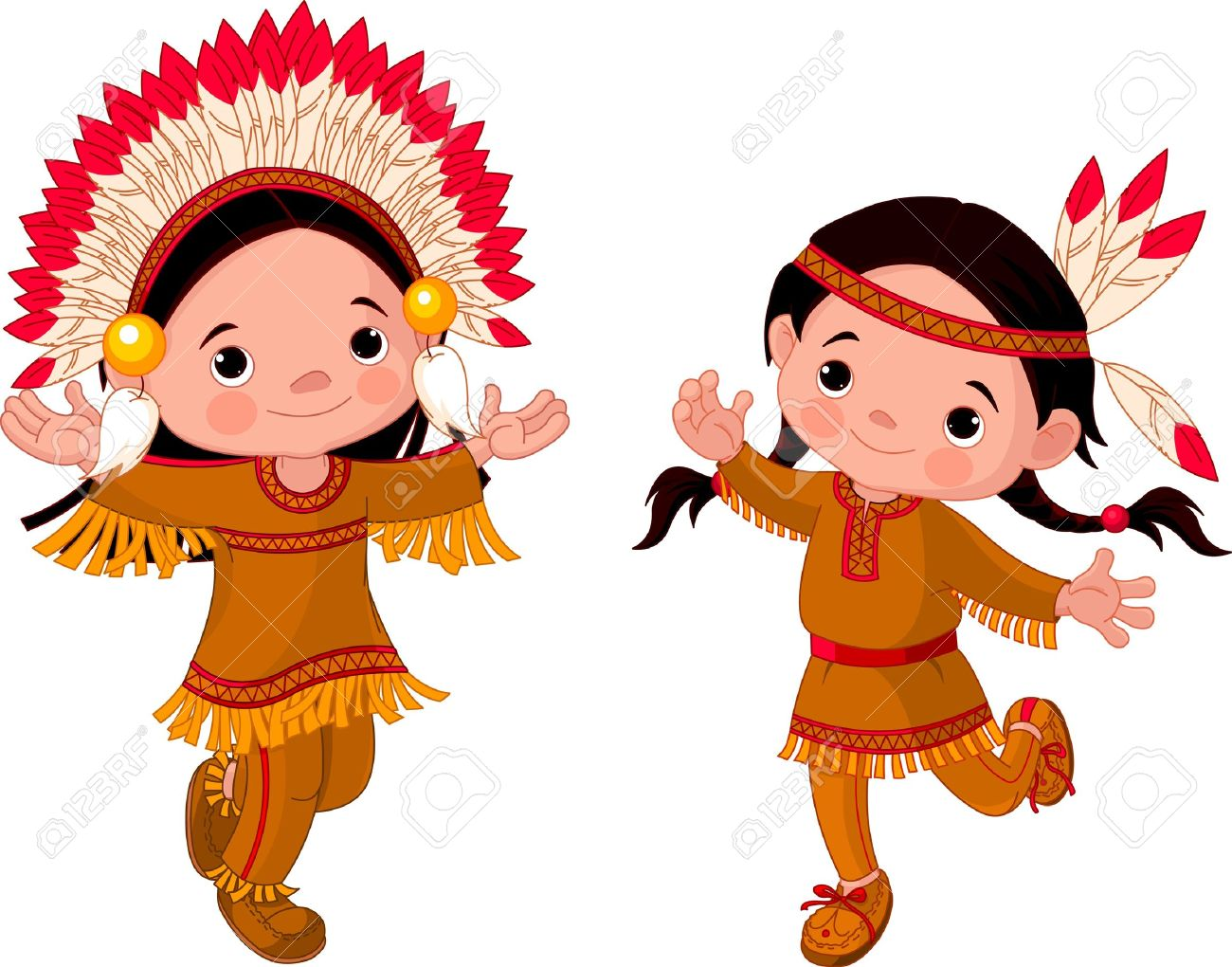 1300x1020 Cute Couple Of American Indians Children Dancing Royalty Free