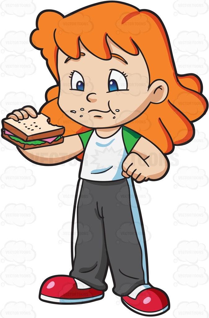 675x1024 A Girl Munches A Ham Sandwich For Her Snack Cartoon Clipart