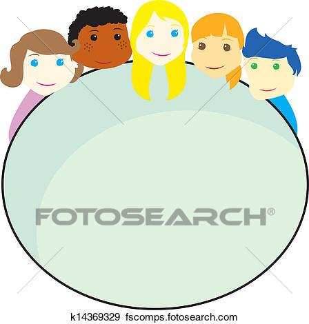 448x470 Clip Art Of Children Faces Background K14369329