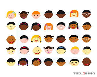 340x270 Cute Baby And Children Faces Digital Clipart Clip Art