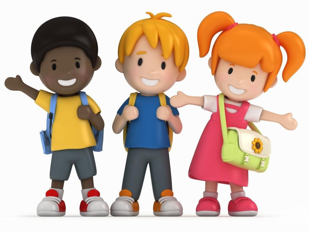 kids in school cartoon