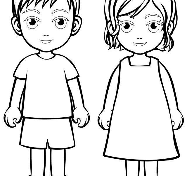Coloring Pages Kids Parts Body: Free Download Best Children Outlines