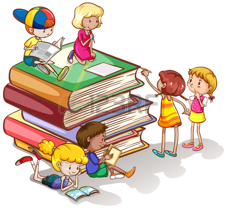 450x415 Children Reading Books Over The Rainbow Illustration Royalty Free