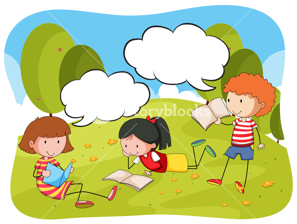 1000x756 Children Reading Book In The Park Illustration Royalty Free Stock