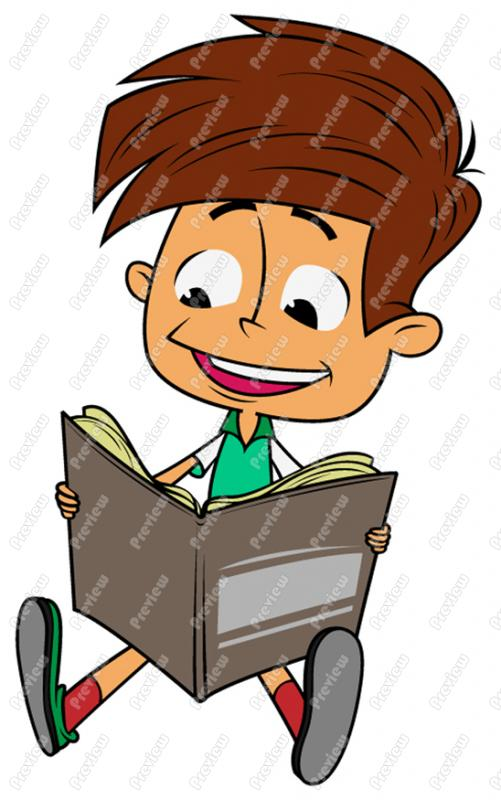 501x800 Boy Child Reading Clip Art