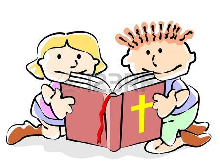 450x339 Vector Illustration Of Children Reading Bible Royalty Free
