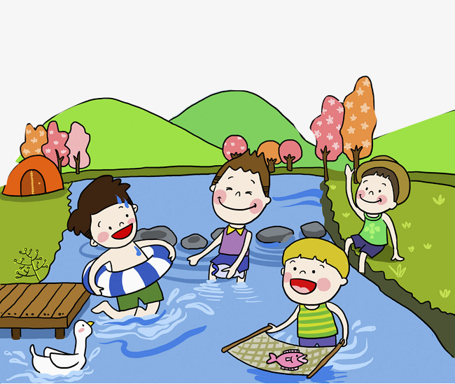 650x549 Children Swimming And Playing In The River, River Water, Brook