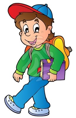 258x400 Child Walking To School Clipart