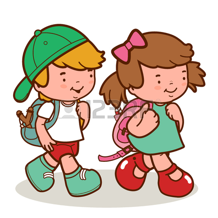 450x450 Children Walk To School. Coloring Book Page Royalty Free Cliparts