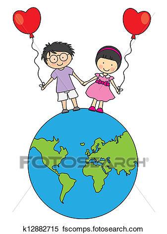 337x470 Clipart Of Children Walking On The Globe K12882715