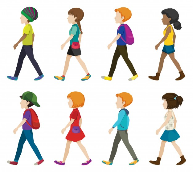 626x559 Faceless Children Walking On A White Background Vector Free Download