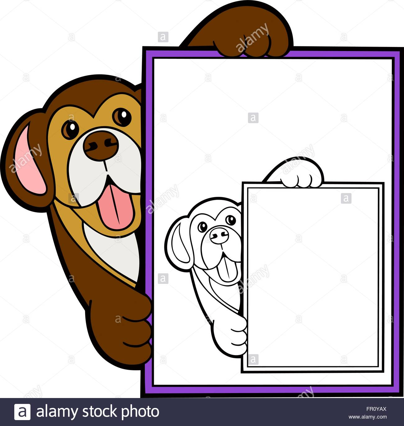 1300x1370 Border With A Cute Dog For Children's Magazine Stock Vector Art