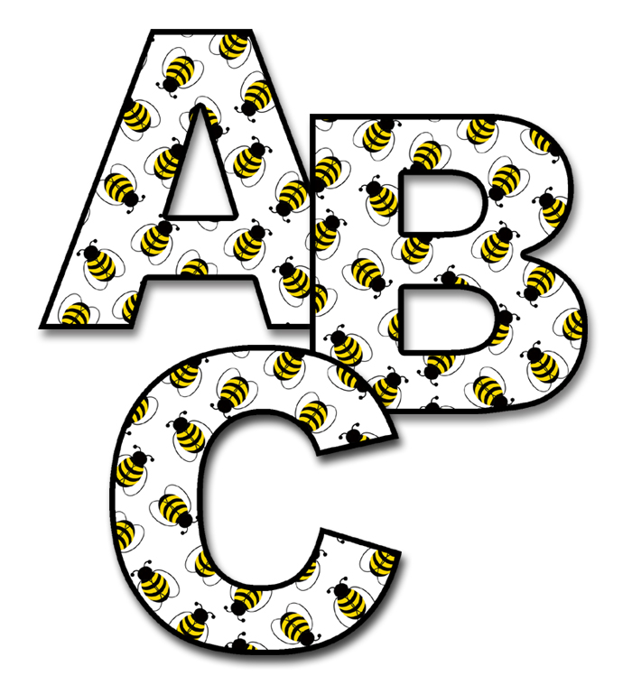 700x769 Bee Alphabet Letter Wall Decal Personalized Childs Name Stickers