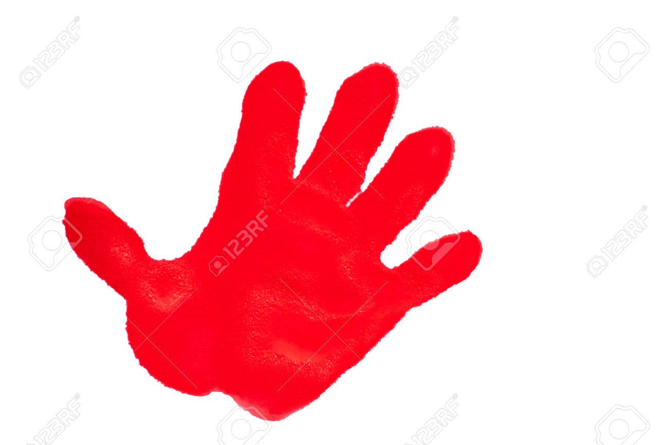 1300x866 Child's Handprint With Red Textured Paint Isolated On White