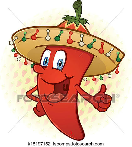422x470 Clipart Of Sombrero Pepper Thumbs Up Cartoon K15197152