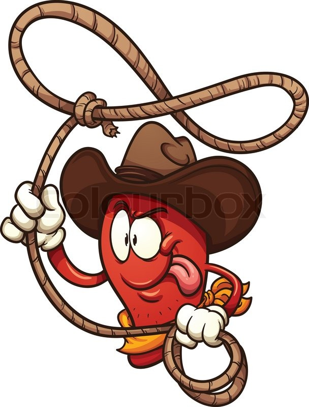 608x800 Cowboy Chili Pepper Lasso. Vector Clip Art Illustration