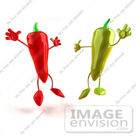 450x450 Royalty Free (Rf) Illustration Of 3d Red And Green Chili Pepper