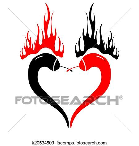 450x470 Clip Art Of Two Chili Peppers Forming A Shape Of Heart. Hot Lover