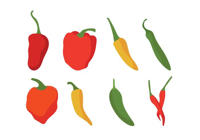 700x490 Different Chili Peppers Vector Set