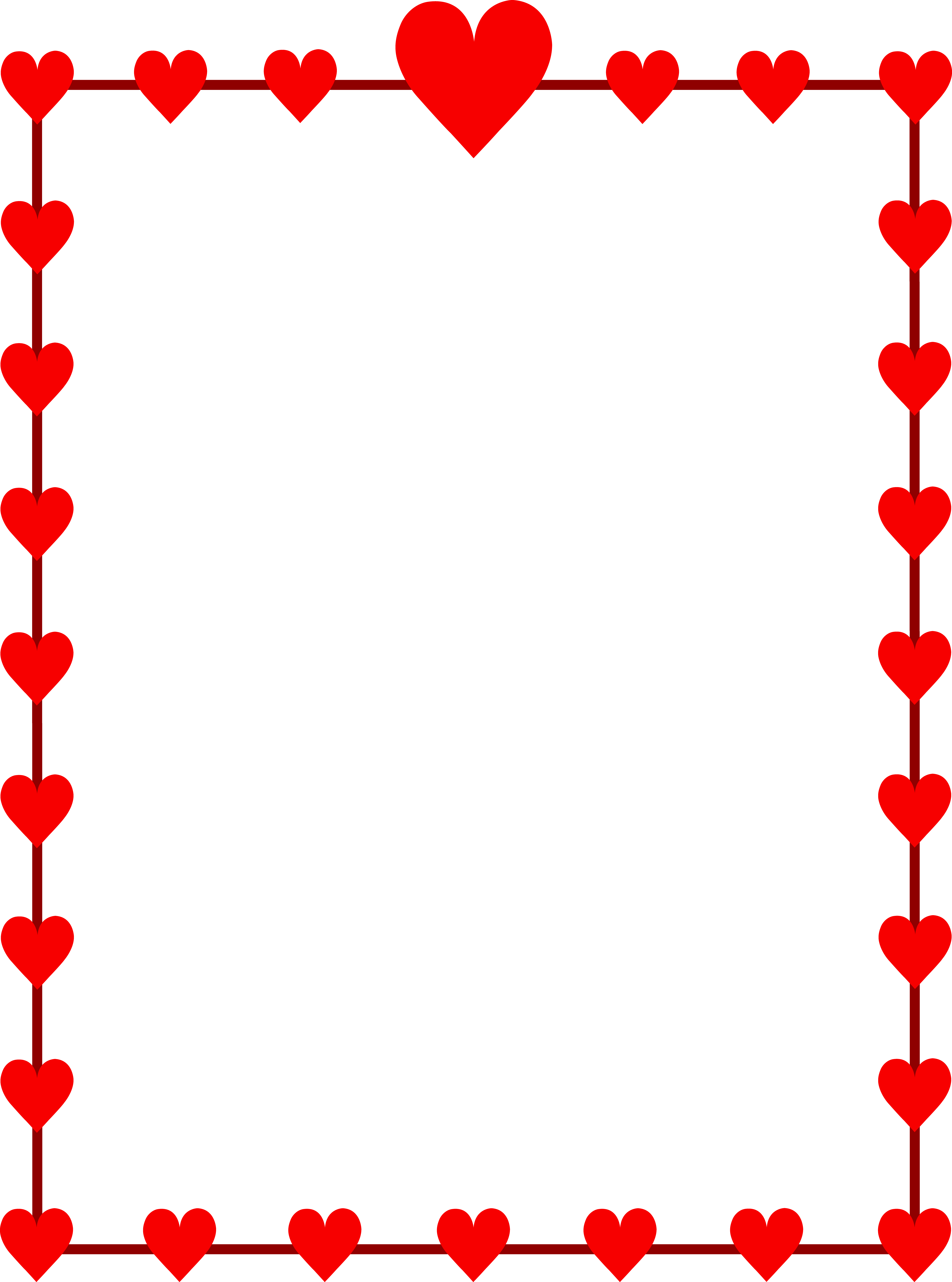 5952x8014 Cute Red Clipart Border