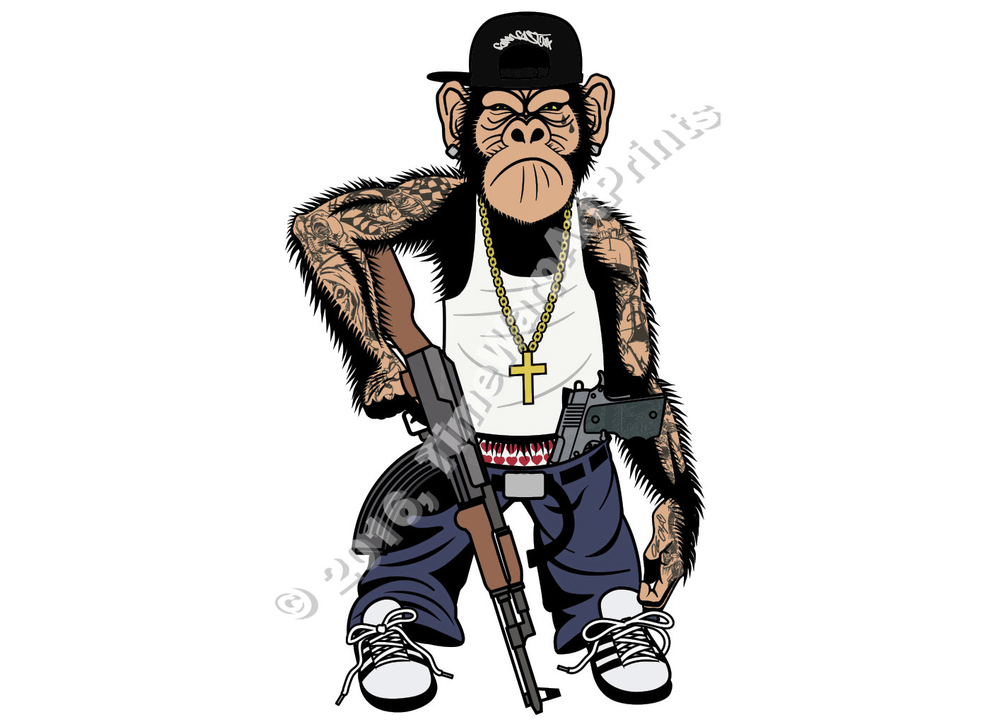 1400x1021 Gangsta Chimp With Guns Comic Gangster Graphic Full Color