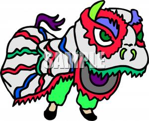 300x243 Chinese Dragon On New Years Clip Art Image