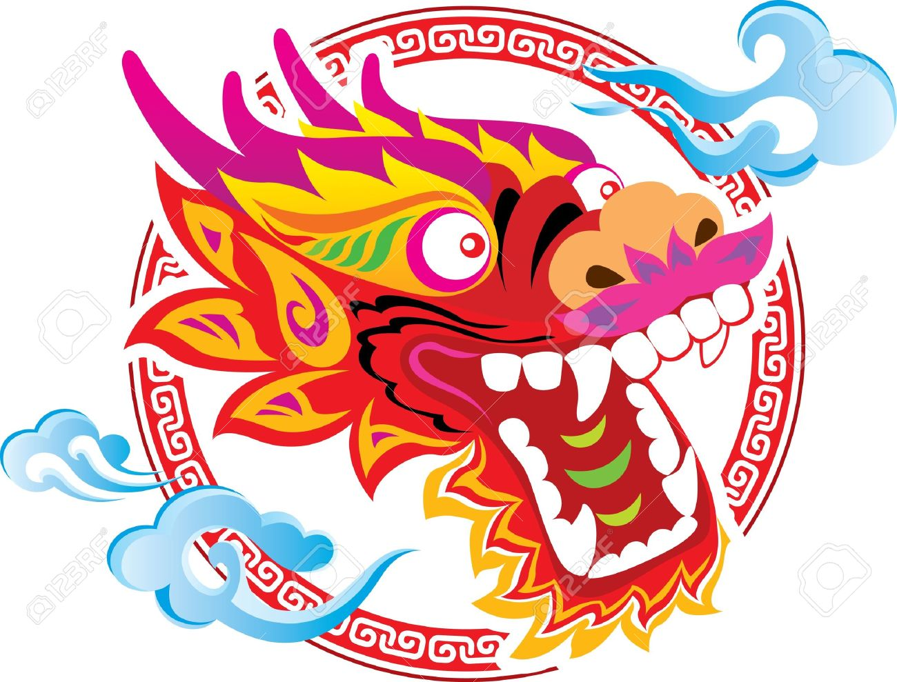 1300x989 Color Chinese Dragon Head Art Design Royalty Free Cliparts