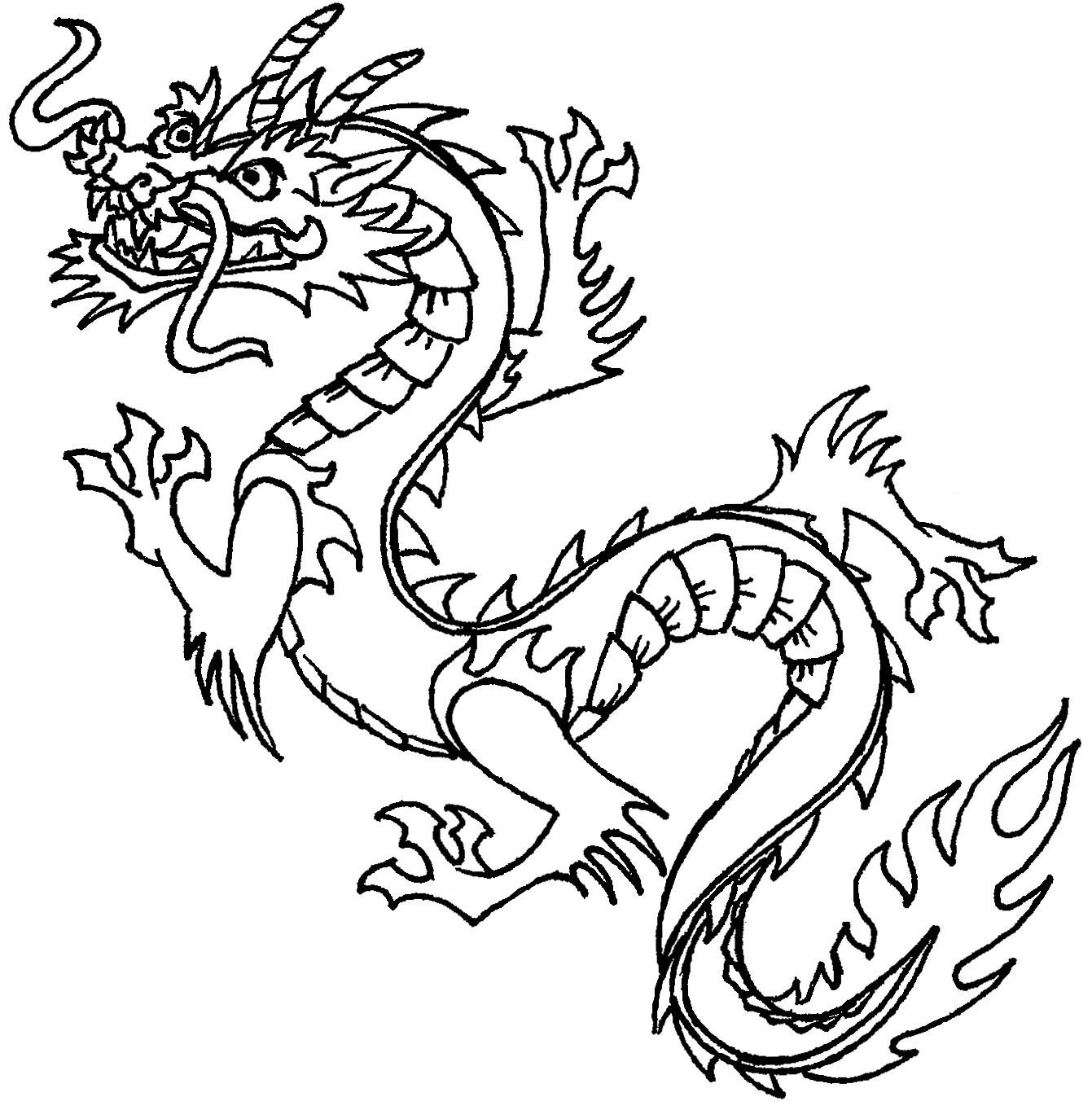 1341x1363 Dragon Clipart Black And White
