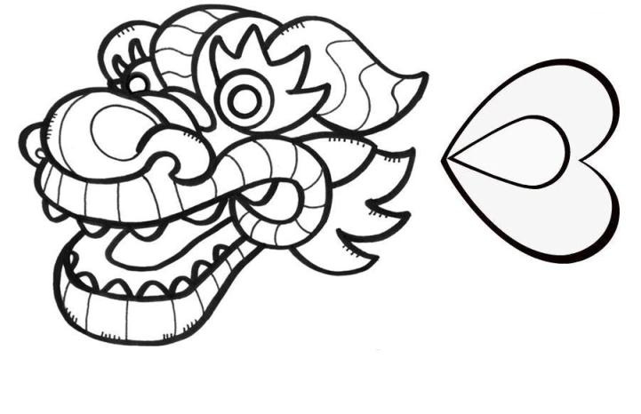 721x466 Chinese Dragon Head Coloring Page