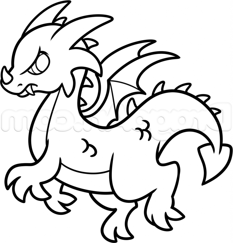 979x1024 Simple Dragon Drawing How To Draw A Chinese Dragon Easy Step Step