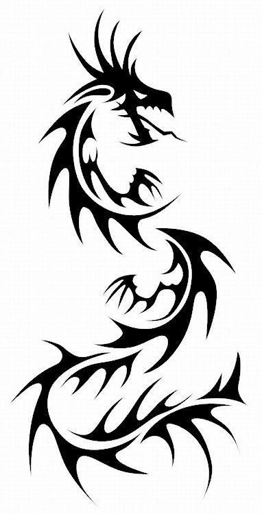 382x750 Black Tribal Chinese Dragon Tattoo Stencil