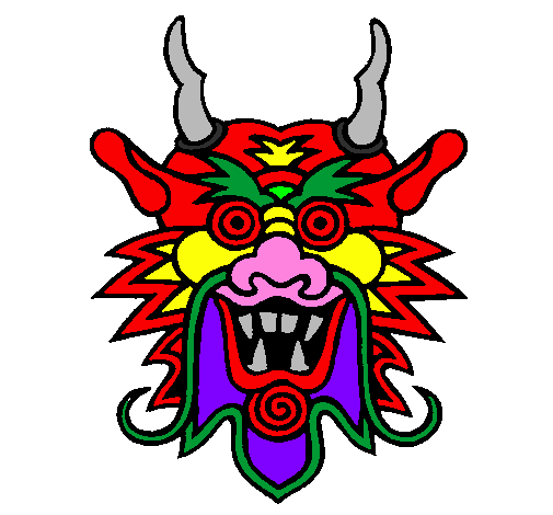 505x470 Colored Page Dragon Face Painted By D