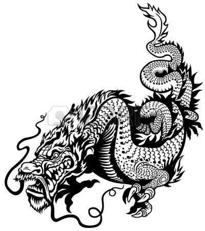 400x450 Chinese Dragon Holding Pearl, Black And White Tattoo Illustration