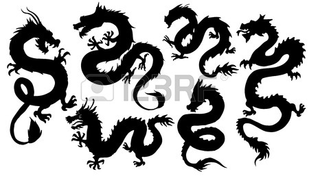 450x257 Chinese Dragon Silhouettes On The White Background Royalty Free