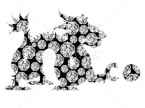 600x445 Chinese Dragon Sitting Archaic Motif Black And White Clip Art