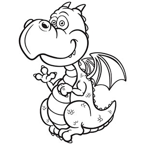 300x300 Cute Dragon Black And White Clipart