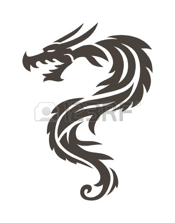 353x450 Dragon Tattoo White Background Vector Illustration. Vector Chinese