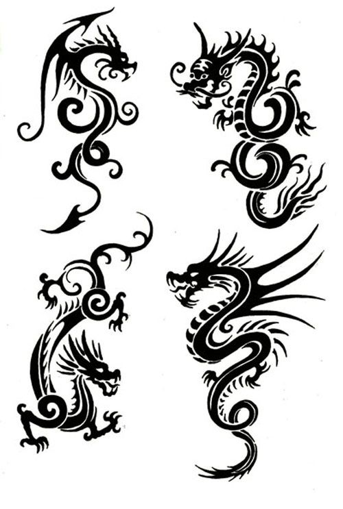 500x743 Tribal Chinese Dragon Tattoos Would Make Lovely Patterns