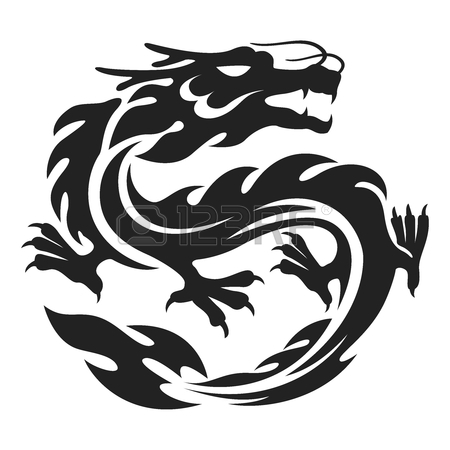 450x450 Vector Chinese Dragon Tattoo Illustration Isolated On White